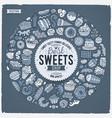 set sweet food cartoon doodle objects symbols vector image vector image