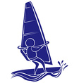 Sport icon design for sailing in blue color vector image vector image