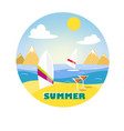surf board in the sand on the beach vector image