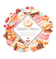 sweets and pastry menu poster vector image vector image