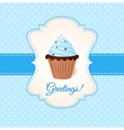 vintage greetings card with blue cream cake vector image vector image