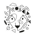 with abstract black white fox head pine trees sun vector image