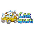 yellow car wash character cartoon over background vector image