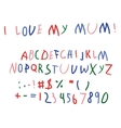 Child baby script letters font hand writing vector image