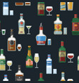alcohol bottles and glasses seamless vector image