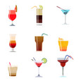 alcoholic cocktails isolated on black background vector image vector image