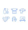 bathroom icons set soap dispenser towel holder vector image