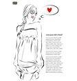 beautiful young woman hand drawn vector image vector image