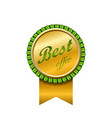 best offer award ribbon icon gold sign isolated vector image vector image