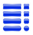 blue glass buttons collection of menu interface vector image vector image
