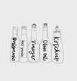bottles of sauce sketch vector image