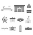 building and architecture monochrome icons in set vector image vector image