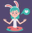 Bunny Girl Meditading Thinking about Love vector image