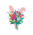 bunny is hiding behind flower bouquet spring vector image vector image