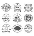 camping and outdoor adventure black emblems vector image