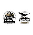 camping climbing logo or label hike camp emblem vector image