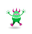 cartoon tricorn merry green monster vector image