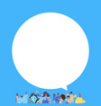casual people group chat bubble standing together vector image vector image