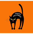 Cat arch back Happy Halloween greeting card Yellow vector image vector image