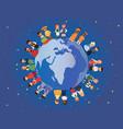 children different nationalities around earth vector image