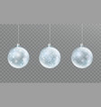 christmas glass transparent ball with snow and vector image