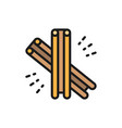 cinnamon spice flat color line icon isolated on vector image