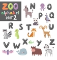 Colorful zoo english alphabet with cartoon vector image