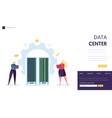 data center server staff landing page business vector image
