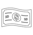 dollar bill icon outline style vector image vector image