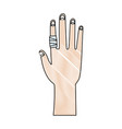drawing human hand with finger bandage medical vector image vector image