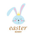 easter card with face bunny isolated on white vector image vector image
