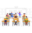 female teacher with pupils sitting at desks vector image vector image