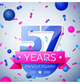 Fifty seven years anniversary celebration on grey vector image vector image