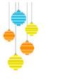 five pixel art christmas tree ball flat design vector image