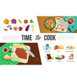 flat healthy food elements collection vector image vector image