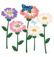 Fresh flowers with butterflies vector image vector image