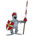 Funny knight with a lance vector image