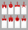 gift cards with ribbons tags with textile bow vector image