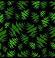 green fern leaf seamless wild forest pattern black vector image vector image