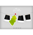Hanging Christmas tree badge and photographs art vector image vector image