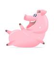 happy pig cartoon vector image vector image