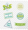high fiber label collection isolated on vector image