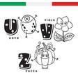 italian alphabet egg violet pumpkin vector image vector image
