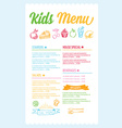 Kids menu template vector image vector image