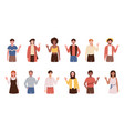 large set diverse people standing waving their vector image