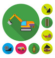 mining industry flat icons in set collection for vector image vector image