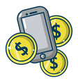 mobile money icon cartoon style vector image