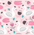 pink seamless pattern with white princess swan vector image vector image