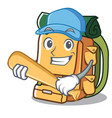 playing baseball backpack character cartoon style vector image