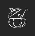 pumpkin soup chalk white icon on black background vector image